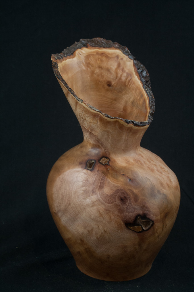 201 Madrone Burl Natural Edge Hollow form Distorted 5 x 9.....$115.....SOLD