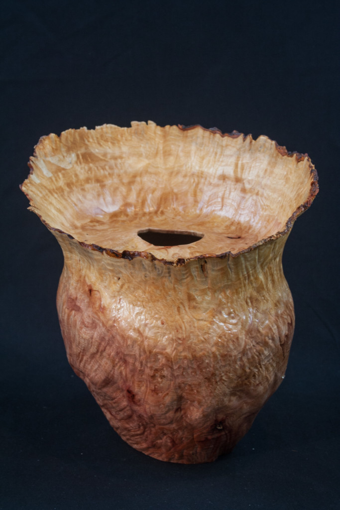 "33 Madrone Burl Natural Edge Distorted Hollow Form 7 x 8 ........ $475....... Located at ""The Real Mother Goose"" in Portland Oregon"